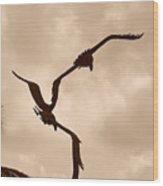 Dancing Birds Wood Print