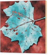 Dancing Blue Leaf Wood Print
