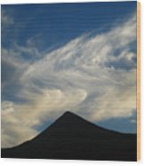Dancing Clouds Above Volcanic Peak Wood Print
