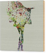 Dancing Geisha Wood Print