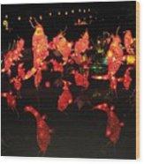 Dancing Goldfish Pond At Night Wood Print