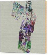 Dancing In Kimono Wood Print by Naxart Studio