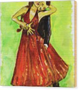 Dancing In The Showlights Wood Print