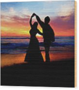 Dancing On The Beach - Painting Wood Print