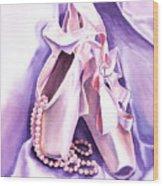 Dancing Pearls Ballet Slippers  Wood Print