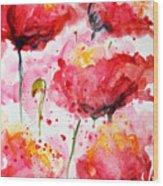 Dancing Poppies Galore Watercolor Wood Print