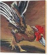 Dancing Rooster  Wood Print