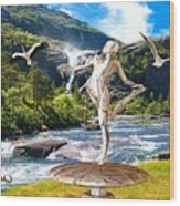 Dancing Statue Near The Waterfall Wood Print