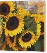 Dancing Sunflowers Wood Print