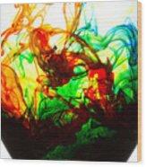 Dancing Water Colors Wood Print
