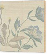 Dandelions And Blue Flowers, Nakamura Hochu, 1826 Wood Print