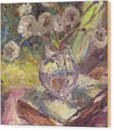 Dandelions Flowers In A Vase Sunny Still Life Painting Wood Print