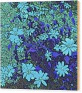 Dandy Digital Daisies In Blue Wood Print