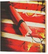 Danger Bomb Background Wood Print
