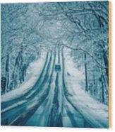 Dangerous Slippery And Icy Road Conditions Wood Print