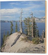 Dangerous Slope At Crater Lake Wood Print