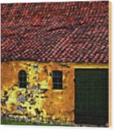 Danish Barn Watercolor Version Wood Print by Steve Harrington