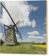 Danish Windmill Wood Print