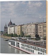 Danube Riverside With Old Buildings Budapest Hungary Wood Print