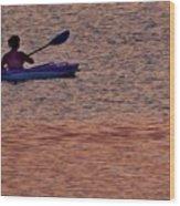 Danvers River Kayaker Wood Print