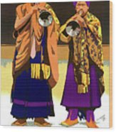 Darjeeling, Lama Dance Musicians, India Wood Print