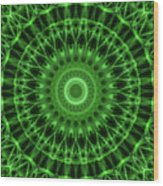Dark And Light Green Mandala Wood Print