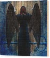 Dark Angel At Church Doors Wood Print