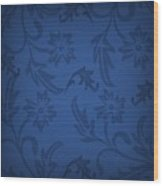 Dark Blue Floral Wood Print