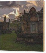 Dark Cambodian Temple Wood Print