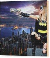 Dark City Of The Bat Wood Print