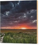Dark Clouds At Sunset Wood Print