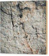 Dark Fissures On Limestone Rock Wood Print