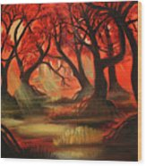Dark Forest Wood Print