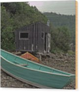 Dark Harbour Fisherman Shack And Boat Wood Print