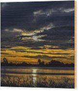 Dark Lake Sunrise Wood Print