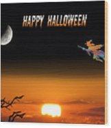 Dark Night Halloween Card Wood Print