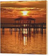 0209 Dark Orange Sunrise On Sound Wood Print