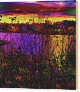 Dark Psychedelic Sunset Wood Print