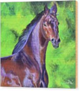 Dark Red Bay Horse Wood Print