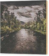 Dark River Woods Wood Print