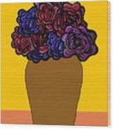 Dark Rose Folk Art Wood Print