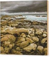 Dark Skies On Ocean Shores Wood Print
