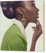 Dark Skinned Woman In Updo With Big Curls Wood Print