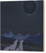 Dark Sky Eclipse Flare Wood Print