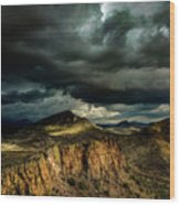 Dark Storm Clouds Over Cliffs Wood Print