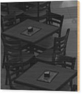 Dark Tables Wood Print