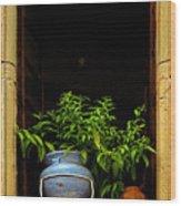 Darkened Window Wood Print