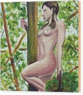 Darlene With Basket Wood Print