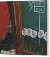 Darts And Board Wood Print