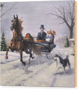 Dashing Through The Snow  II Wood Print by Jeanne Newton Schoborg